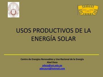 Usos productivos de la energía solar