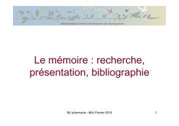 Le mémoire : recherche, présentation, bibliographie - Bibliothèque ...