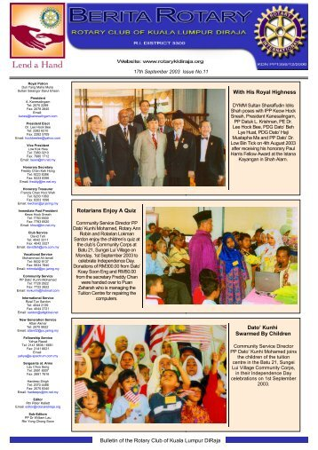 Bulletin of the Rotary Club of Kuala Lumpur DiRaja With His Royal ...