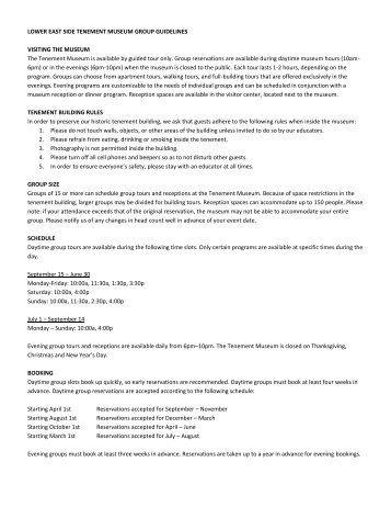 LOWER EAST SIDE TENEMENT MUSEUM GROUP GUIDELINES ...
