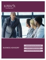 BUSINESS ADVISORY - H. PIERSON ASSOCIATES
