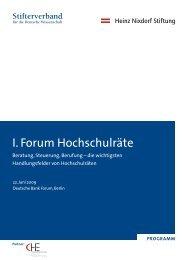 I. Forum Hochschulräte - Stifterverband für die Deutsche Wissenschaft