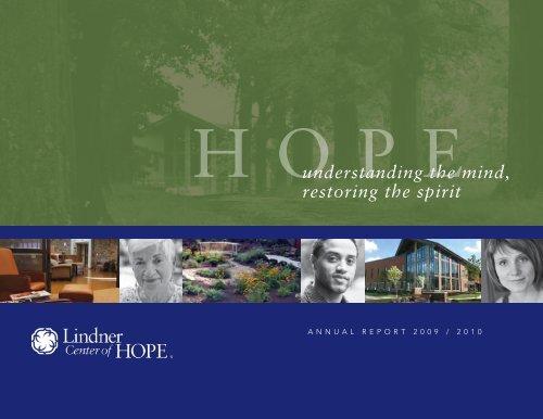 understanding the mind, restoring the spirit - Lindner Center of HOPE