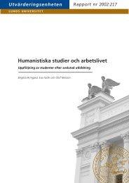 Humanistiska studier och arbetslivet. Uppföljning ... - Lunds universitet