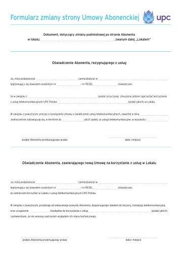 Formularz zmiany strony Umowy Abonenckiej - UPC Polska