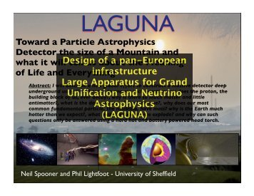 LAGUNA - Particle Physics and Particle Astrophysics - University of ...