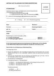 antrag auf zulassung zur zwischenprüfung - Seminar für Mathematik ...