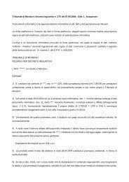 Ricorso per decreto ingiuntivo (Sentenza del tribunale ... - GlobalTrust