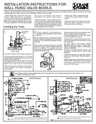 INSTALLATION INSTRUCTIONS FOR WALL ... - Crane Plumbing