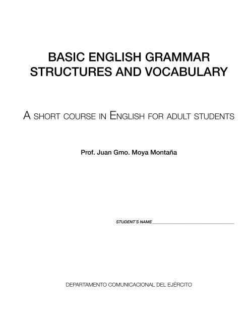 Basic English Grammar Structures And Vocabulary Esl