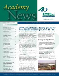 2009 Annual Meeting testing ground for new implant technologies ...