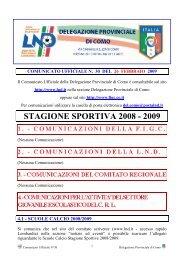 COMUNICATO n.30 del 26/02/2009 - FIGC