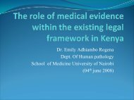 The role of medical evidence within the existing legal framework