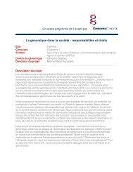 Un autre projet mis de l'avant par La génomique ... - Genome Canada