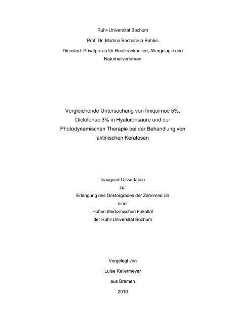 Vergleichende Untersuchungen von Imiquimod 5%, Diclofenac 3% in