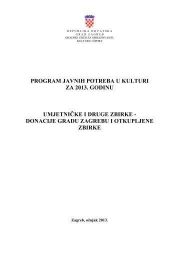 donacije gradu zagrebu i otkupljene zbirke - Zagreb.hr