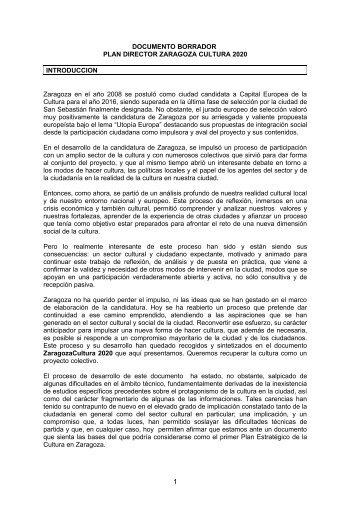 Plan Director Zaragoza Cultura 2020 - Ayuntamiento de Zaragoza