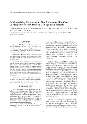 Multimodality Treatment for Non Melanoma Skin Cancer: A - NCI
