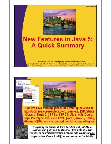 New Features in Java 5 - Custom Training Courses - Coreservlets.com