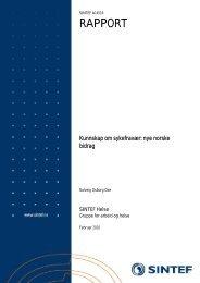Kunnskap om sykefravær: nye norske bidrag - Sintef
