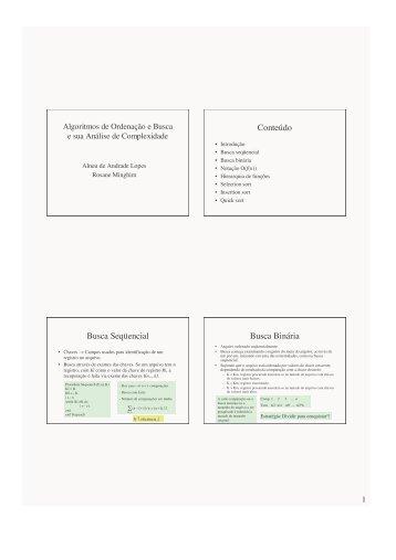 Resumo das aulas de Busca e Ordenação