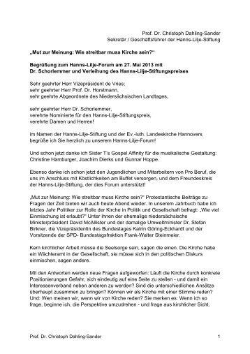 Begrüßung von Prof. Dr. Christoph Dahling-Sander - Hanns-Lilje ...