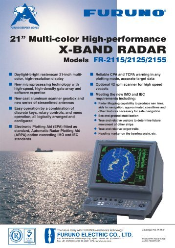 21 Multi-color High-performance X-BAND RADAR - Furuno