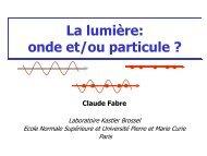 La lumière: onde et/ou particule ?