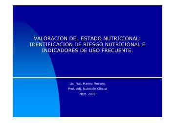 valoracion del estado nutricional: identificacion de riesgo nutricional ...