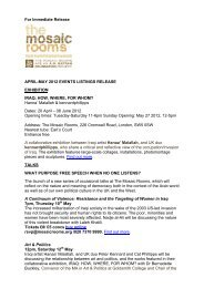 For Immediate Release APRIL-MAY 2012 EVENTS LISTINGS ...
