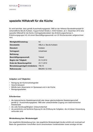 spezielle Hilfskraft für die Küche - Landesschulrat für Tirol
