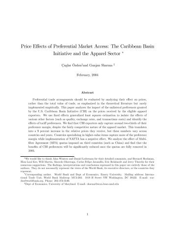 Price Effects of Preferential Market Access: The Caribbean Basin ...