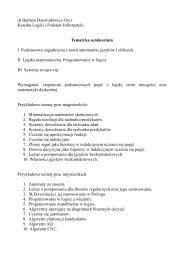 dr Barbara Dziemidowicz-Gryz Katedra Logiki i Podstaw Informatyki ...