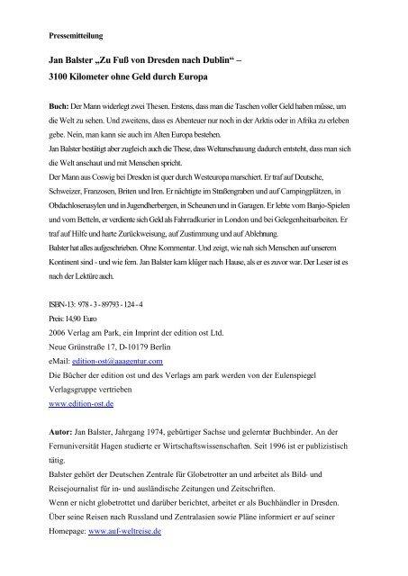 """Jan Balster """"Zu Fuß von Dresden nach Dublin"""" – 3100 Kilometer ..."""
