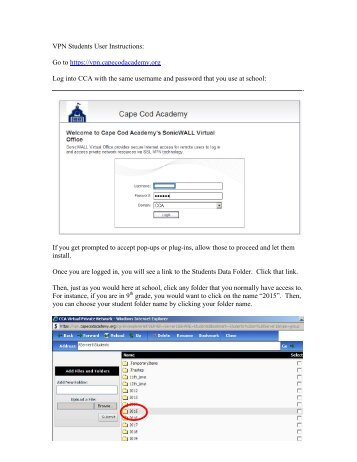 Student Remote Access to School Instructions - Cape Cod Academy