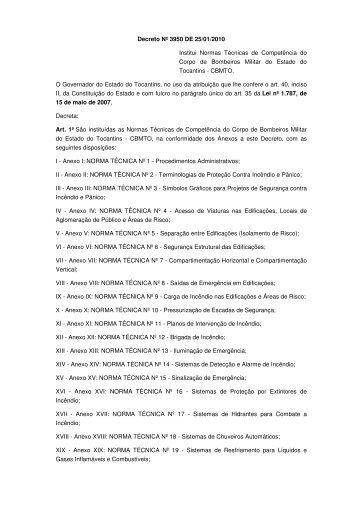 Decreto Nº 3950 DE 25/01/2010 Institui Normas Técnicas de ...