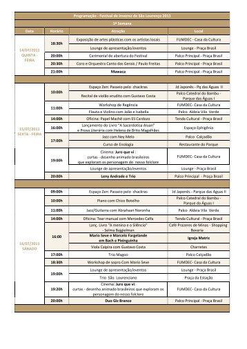 Faça o download da programação do festival.