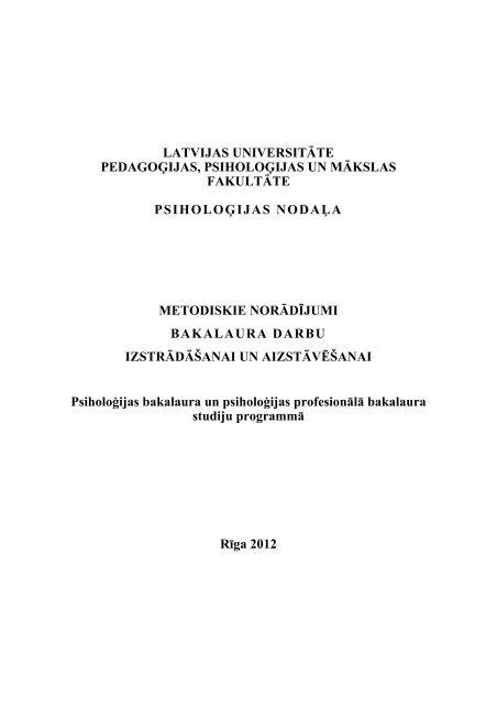 LU PPMF PSIHOLOĢIJAS NODAĻA. Metodiskie norādījumi ...