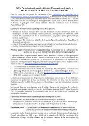 RECRUTEMENT DE DEUX POST-DOCTORANTS - Association ...