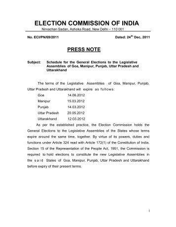 ELECTION COMMISSION OF INDIA - The Chief Electoral Officer ...