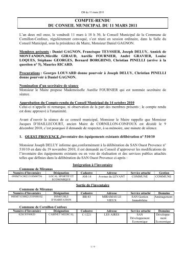 compte-rendu du conseil municipal du 11 mars 2011 - Cornillon ...
