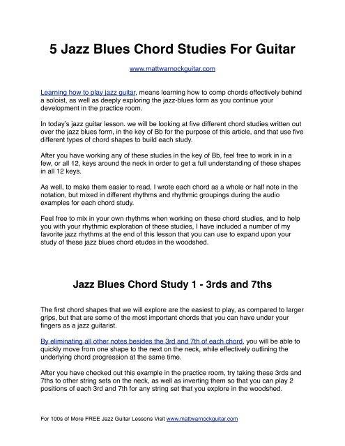 5 Jazz Blues Chord Studies - Matt Warnock Guitar