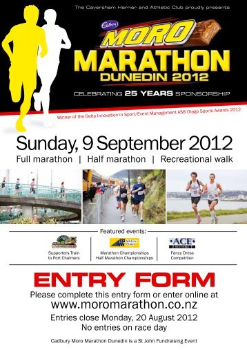 Sunday, 9 September 2012 - Cadbury Dunedin Marathon