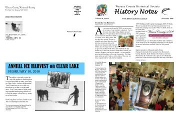 History Notes - Waseca County Historical Society