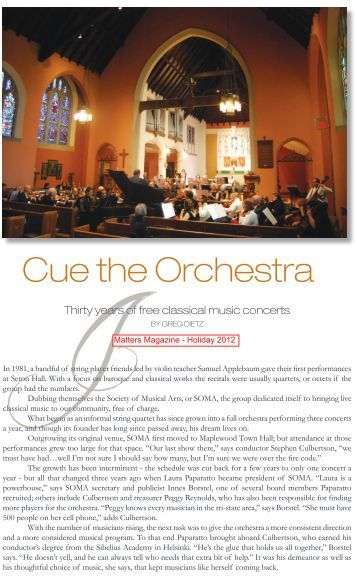 Matters Magazine (NJ) article about SOMA 2012