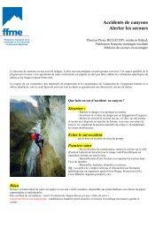Canyon, savoir alerter les secours - FFME