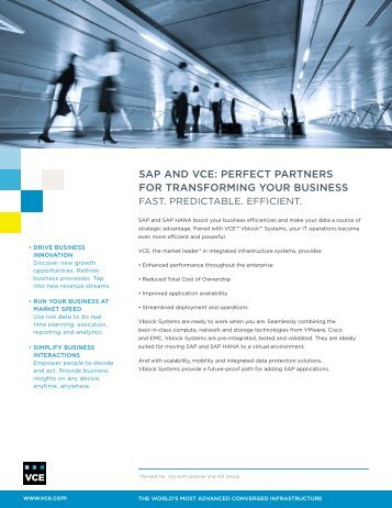 SAP on Vblock™ Systems Solution Brief - VCE