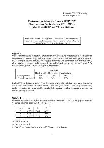 Tentamen van Wiskunde B voor CiT (151217) Tentamen van ...
