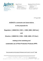 AUDACE's comments and observations on the proposals for ...