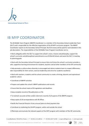 IB MYP COORDINATOR - International School of Paris